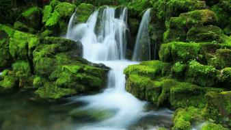 Mossy rock waterfall wallpaper