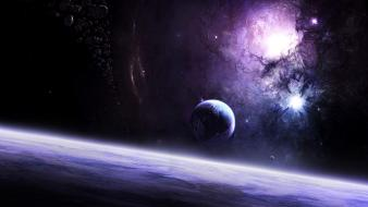Outer space galaxies planets digital art wallpaper