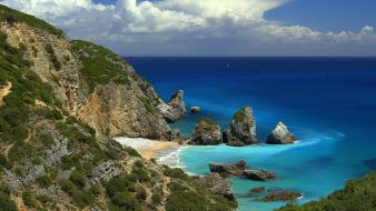 Portugal beaches beige clouds cove wallpaper