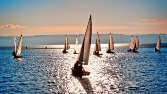 Seascape landscapes nature sailboats sea wallpaper