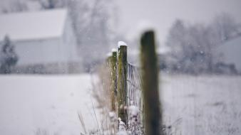 Snow fences depth of field Wallpaper