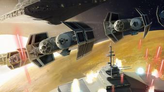 Star wars destroyers tie bomber artwork futuristic wallpaper