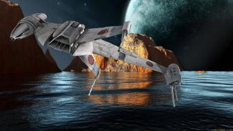Stars planets spaceships science fiction b-wing sci-fi wallpaper