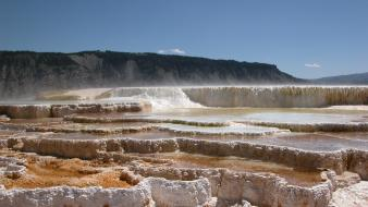 Vacation yellowstone hot springs national park mammoth wallpaper