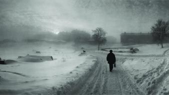 Winter snow paths town monochrome pentti sammallahti wallpaper