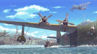 Aircraft biplane boats boys harbours wallpaper