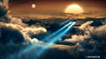 Aircraft sunlight spaceships ancient duality skies jets Wallpaper