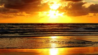 Beach sunsets view Wallpaper