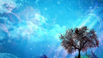 Blue clouds trees multicolor sunlight relaxation skies wallpaper