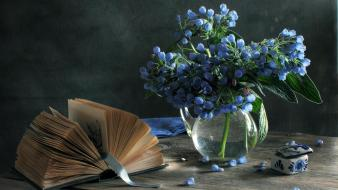 Blue flowers books still life vases wallpaper