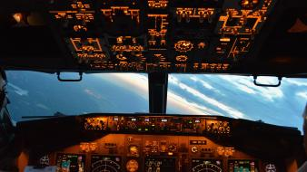 Boeing 737 aircraft aviation cockpit view Wallpaper