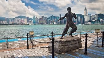 Bruce lee hong kong memorial asia statues wallpaper