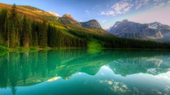 Canada lake forest landscapes mountains nature wallpaper