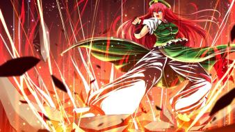 Chinese clothes hong meiling nekominase touhou action wallpaper
