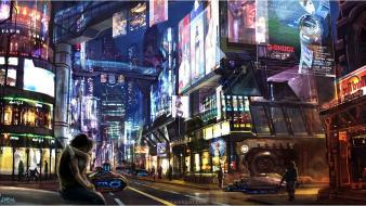 City lights cyberpunk fantasy art futuristic traffic wallpaper