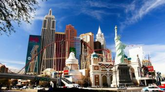 Cityscapes las vegas new york city liberty statue wallpaper