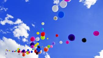 Colorful balloons on sky wallpaper