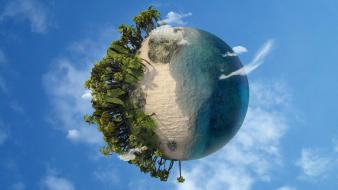 Earth digital art fantasy palm trees wallpaper