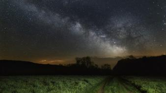 Fields night sky wallpaper