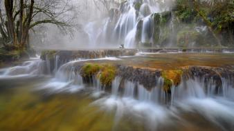 Green water landscapes nature trees fog waterfalls wallpaper