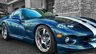 Gts hdr photography blue cars selective coloring wallpaper