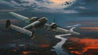 Ii luftwaffe messerschmitt bf 110 smoke trail Wallpaper