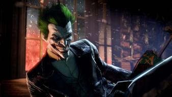 Joker villains gotham city grin arkham origins wallpaper