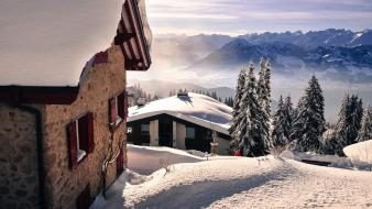 Landscapes nature snow houses wallpaper