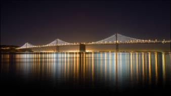 Lights bridges rivers bay san rafael bridge wallpaper
