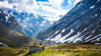 Mountains nature summer norway cottage wallpaper