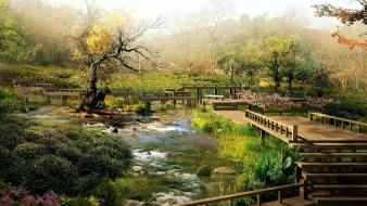 Nature bridges japanese gardens wallpaper