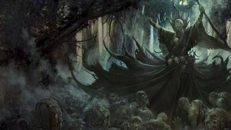 Necromancer artwork fantasy art forests undead wallpaper