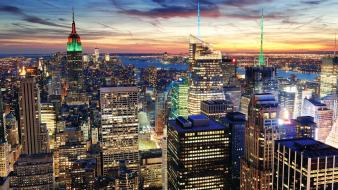 New york city skyscrapers panorama cities skies wallpaper