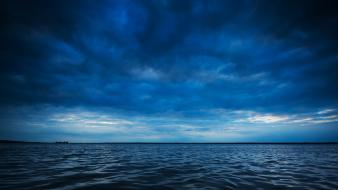 Ocean clouds horizon waves lakes waterscapes sea Wallpaper