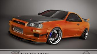 Orange nissan skyline gtr r34 gt-r Wallpaper
