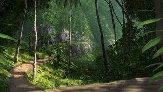 Paintings nature jungle pathway Wallpaper