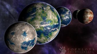 Populous orbit space worlds wallpaper