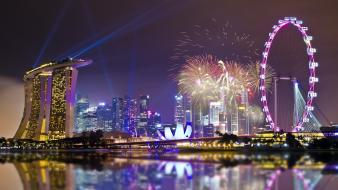 Singapore cities city lights fireworks night wallpaper