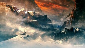 Snow horizon fantasy art artwork three skies wallpaper