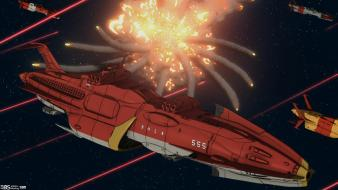Space battleship yamato battles explosions outer ships Wallpaper