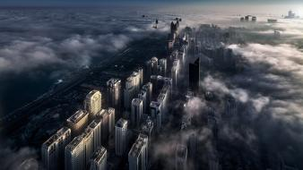 Sunrise landscapes cityscapes gray fog buildings dubai wallpaper