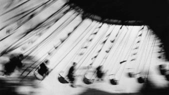 Swings grayscale funfair old photography ernst haas wallpaper