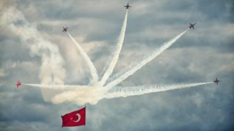 Turkish air force forces flag flight skies wallpaper