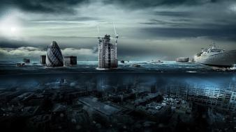 Water ships london underwater photo manipulation wallpaper