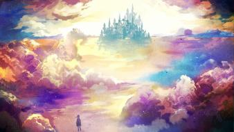 Artwork castles children clouds Wallpaper