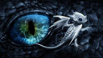Baby black dragon blue eyes dark dragons wallpaper
