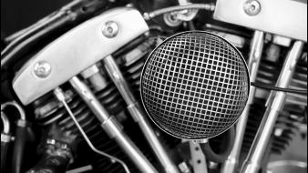 Black and white motorbikes engine wallpaper