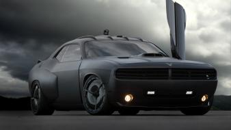 Black dodge challenger muscle car tunning paint wallpaper