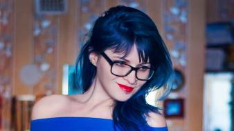 Blue hair cosplay glasses long piercings wallpaper