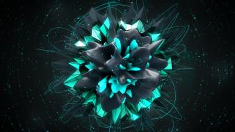 Bokeh geometry digital art teal dark background wallpaper